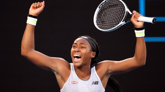 Teenager Coco Gauff celebrates after victory against world No. 3 Naomi Osaka during the third round of the Australian Open on January 24.