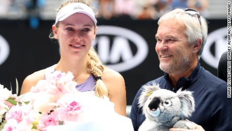 Wozniacki's family, including her father Piotr, came onto the court following the final match of her career at the Australian Open.