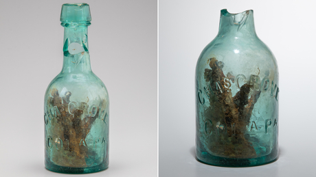 This glass bottle filled with nails was discovered near Williamsburg, Virginia, in 2016.