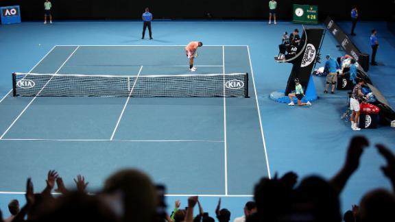 Australian Nick Kyrgios celebrates beating Karen Khachanov in the third round of the Australian Open on January 25.