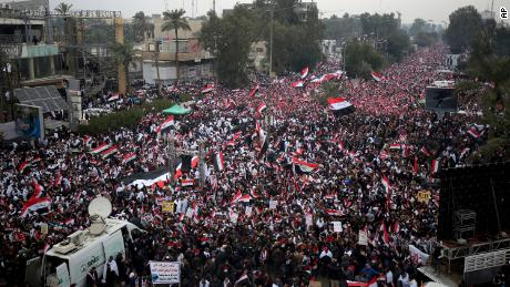 Followers of Shiite cleric Muqtada al-Sadr gather in Baghdad on Friday.