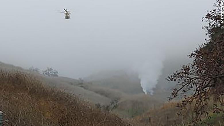 The helicopter crashed on a hillside in Calabasas, California.