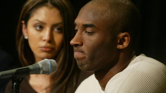 "Bryant and his wife, Vanessa, attend a news conference at the Staples Center in 2003. The NBA star proclaimed his innocence after facing sexual assault charges for the alleged rape of a 19-year-old Colorado woman. The charges were later dropped. ""Although I truly believe this encounter between us was consensual, I recognize now that she did not and does not view this incident the same way I did,"" Bryant later said in a statement."