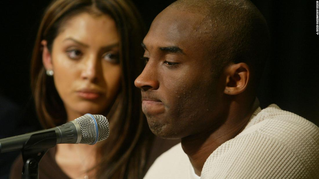 "Bryant and his wife, Vanessa, attend a news conference at the Staples Center in 2003. The NBA star proclaimed his innocence after facing sexual assault charges for the alleged rape of a 19-year-old Colorado woman. The charges were later dropped. ""Although I truly believe this encounter between us was consensual, I recognize now that she did not and does not view this incident the same way I did,"" <a href=""https://www.cnn.com/2004/LAW/09/01/bryant.trial/"" target=""_blank"">Bryant later said in a statement.</a>"