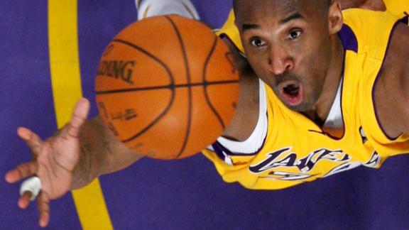 FILE PHOTO: Los Angeles Lakers Kobe Bryant jumps for a rebound against the Denver Nuggets during Game 2 of their NBA Western Conference final basketball playoff game in Los Angeles, May 21, 2009.  REUTERS/Lucy Nicholson/File Photo