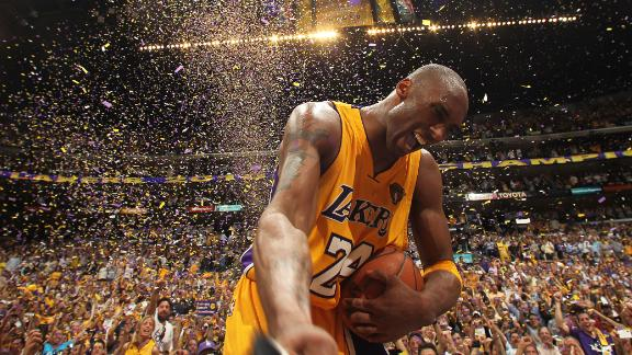 Bryant celebrates after defeating the Boston Celtics in the 2010 NBA Finals in Los Angeles.