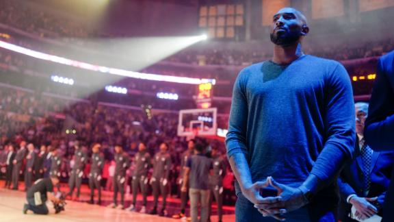 Bryant listens to the National Anthem prior to a 2019 Lakers game against the Atlanta Hawks in Los Angeles.