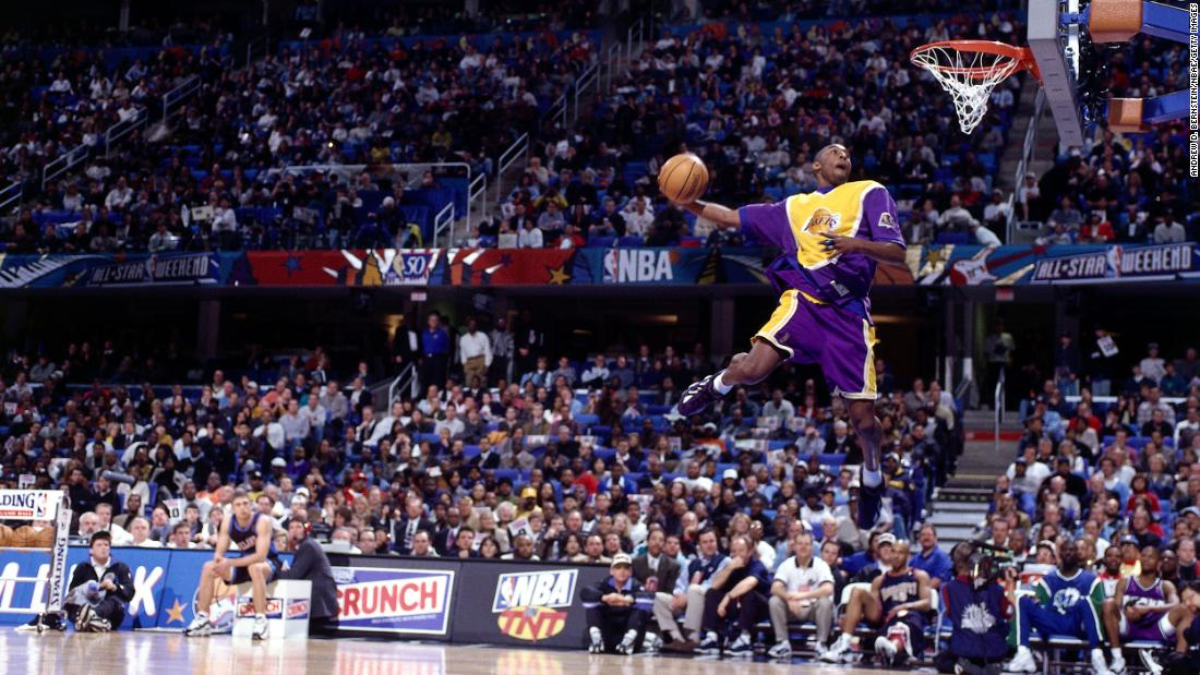 Bryant eyes the basket during the 1997 NBA Slam Dunk contest in Cleveland. Bryant was the youngest player to win the contest.