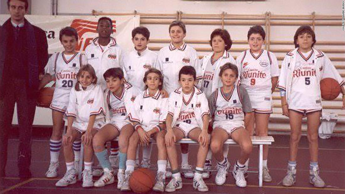 Bryant's youth basketball team poses for a picture in the early 1990s in Reggio Emilia, Italy.