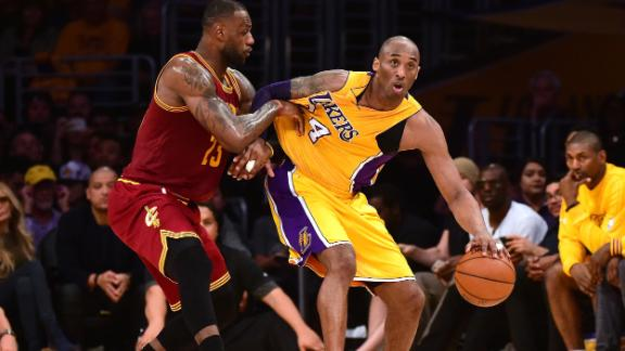 LeBron James guards Bryant during a 2016 game between the Cavaliers and Lakers in Los Angeles.
