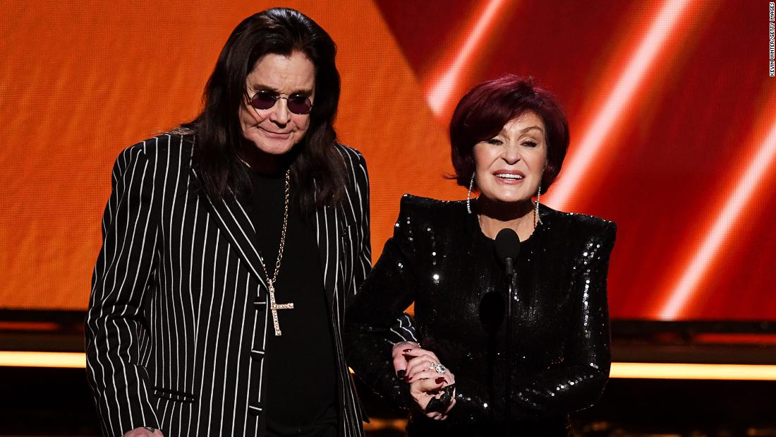 Ozzy Osbourne and Sharon Osbourne present Nipsey Hussle with posthumous Grammy Award for best rap performance.