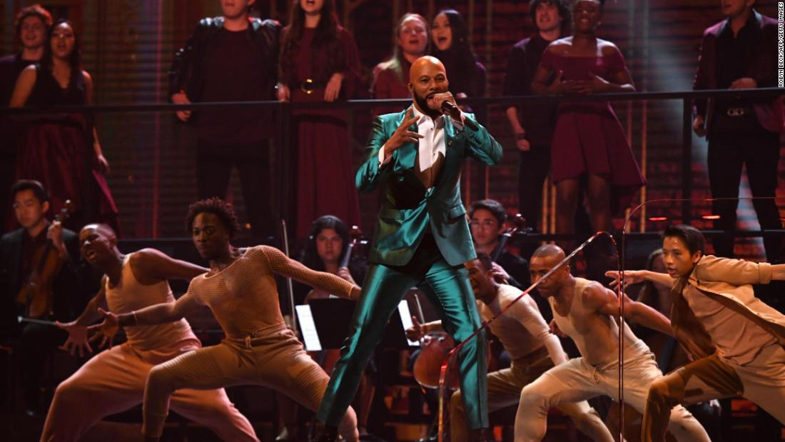 American rapper Common performs during the Grammys.