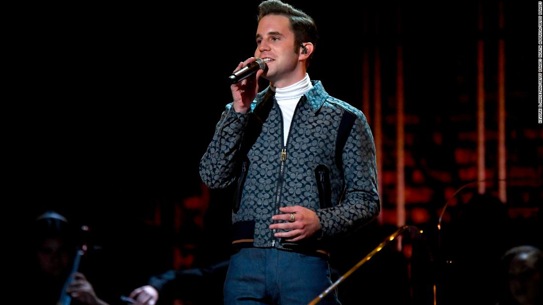 "Ben Platt performs ""I Sing The Body Electric"" onstage."