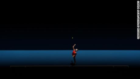 Sharapova serves against Vekic at the Australian Open.