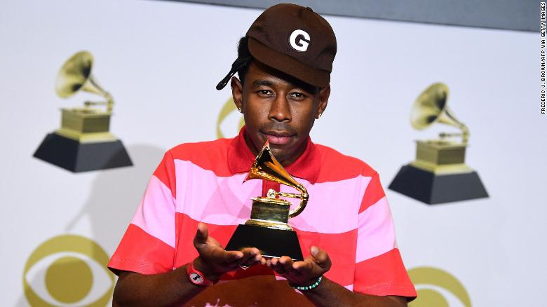 "Tyler, the Creator poses in the press room with the award for Best Rap Album for ""Igor"" during the 62nd Annual Grammy Awards in Los Angeles on January 26, 2020."