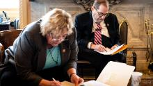 Democratic Reps. Zoe Lofgren of California and Jerry Nadler of New York are seen in the ante room.