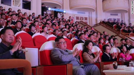 North Korean leader Kim Jong Un is seen with his aunt Kim Kyong Hui, who is seated in the front row, at the Lunar New Year concert.
