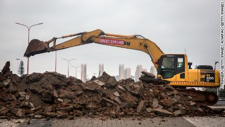 Construction continues at a field hospital on January 26, 2020 in Wuhan.