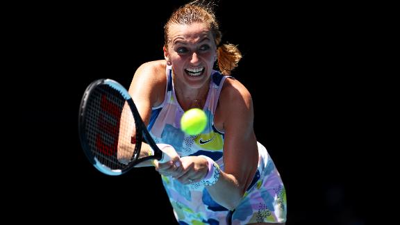 Petra Kvitova plays a backhand against Australian Ashleigh Barty. After a tight first set, Barty triumphed 7-6 6-2 to reach the semifinals.