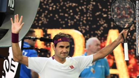 Federer celebrates after victory against Tennys Sandgren in the Australian Open quarterfinals.