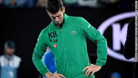 Novak Djokovic cries as he pays tribute to Kobe Bryant at the Australian Open.