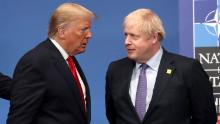 US President Donald Trump and British Prime Minister Boris Johnson at a NATO summit.