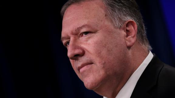 WASHINGTON, DC - NOVEMBER 18: U.S. Secretary of State Mike Pompeo speaks during a press conference at the U.S. Department of State on November 18, 2019 in Washington, DC.  Pompeo announced that the Trump administration does not consider Israeli settlements in the West Bank a violation of international law. Pompeo also spoke about protests in Iran, Iraq and Hong Kong. (Photo by Drew Angerer/Getty Images)