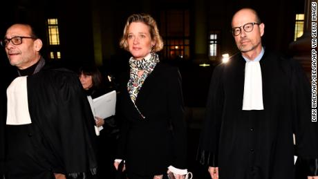 Delphine Boel with her lawyers arriving to court on December 13, 2019 in Brussels.