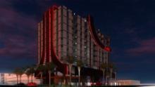 A rendering of an Atari Hotel.