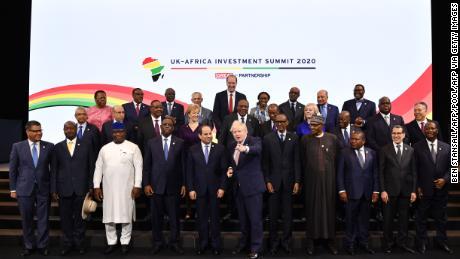 UK Prime Minister Boris Johnson posing at the UK-Africa Investment Summit.