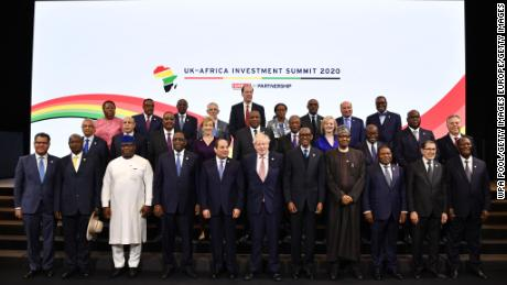UK Prime Minister, Boris Johnson posing with Ethiopia's Prime Minister Abiy Ahmend, Angola's President Joao Lourenco, Algeria's President Abdelmadjid Tebboune and other African heads of state at the start of the UK-Africa Investment Summit in London on January 20, 2020.