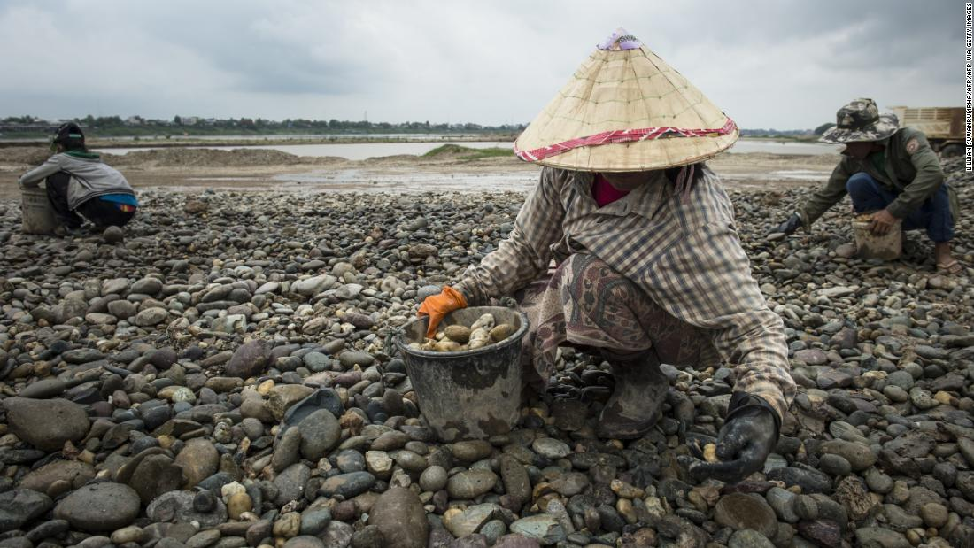 But wetlands the world over are under threat. Pictured, workers gathering pebbles at a sand excavation site along the Mekong River in Vientiane, Laos. Darwall says that sand mining in places like the Mekong for concrete production is a major threat to the ecosystem.