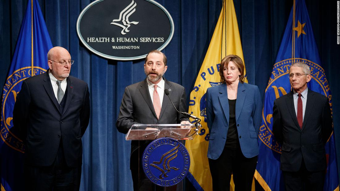 US Health and Human Services Secretary Alex Azar speaks during a news conference about the American public-health response.