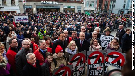Political leaders take part in the rally in Drogheda on January 25.