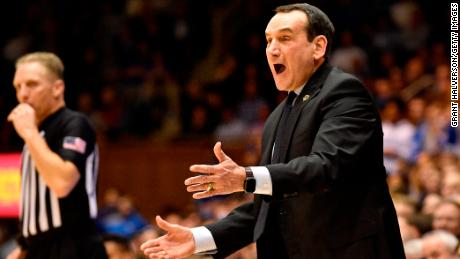 Duke's Mike Krzyzewski coaches his Blue Devils against PItt on Tuesday night.