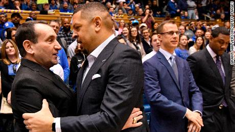 Krzyzewski embraces Pitt coach Jeff Capel III before Tuesday's game in Durham.