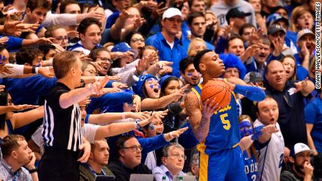 The Cameron Crazies taunt Pitt's Au'Diese Toney during Tuesday's game.