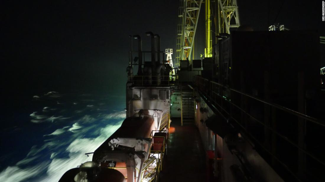 The Resolution at night sailing to the Bengal Fan, Bay of Bengal in 2015. Expeditions are typically around two months, and the crew work 12-hour shifts, seven days a week during drilling operations.