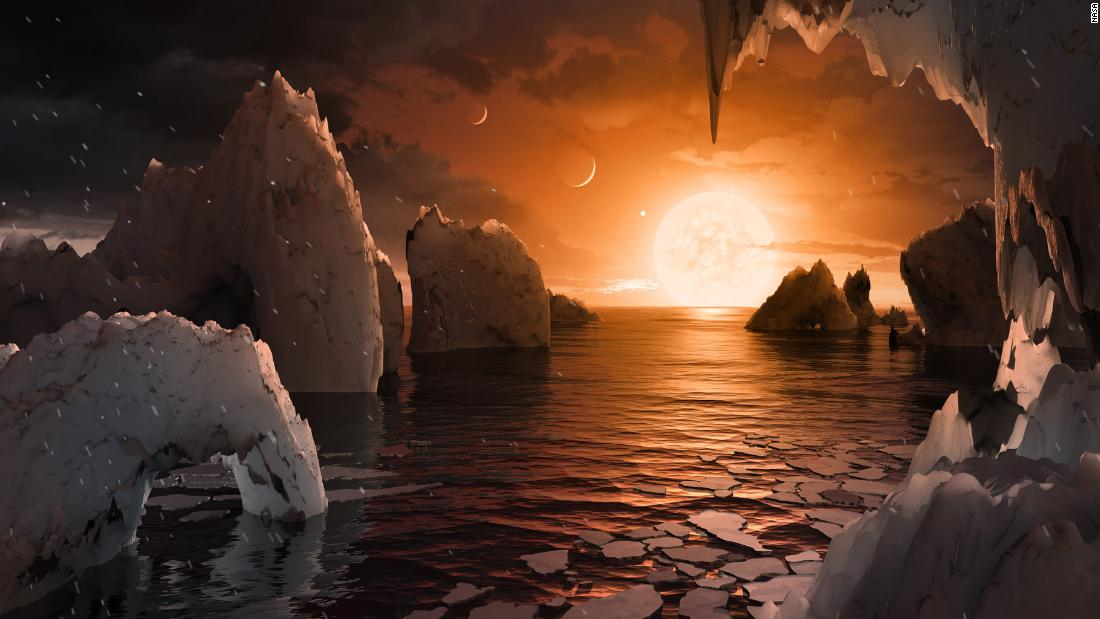 This illustration shows what it might be like to stand on the surface of TRAPPIST-1f, with liquid water on the surface and other planets visible in the sky.
