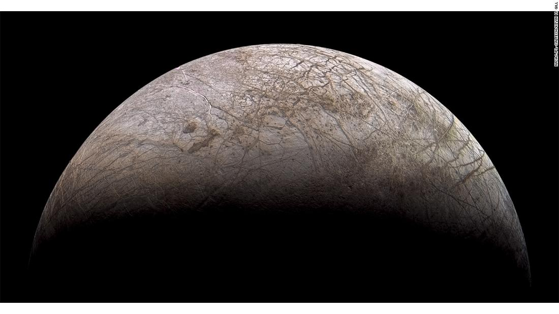 """Europa Galileo"" -- A view of Jupiter's moon Europa made using images taken by the Galileo orbiter."