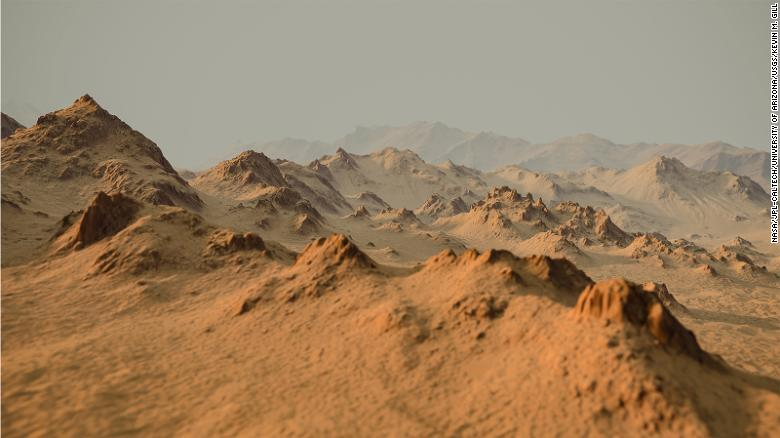 Maoni ya crate ya Hale kwenye Mars, iliyoundwa na kuchanganya picha za angani na ramani za mwinuko na HiRISE ndani ya Orbiter ya Mars.