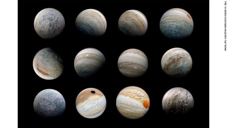 """Kevin Gill: """"Uma colagem de vistas de Júpiter de ângulo ultra grande angular criadas usando imagens reprojetadas capturadas pela sonda Juno""""."""
