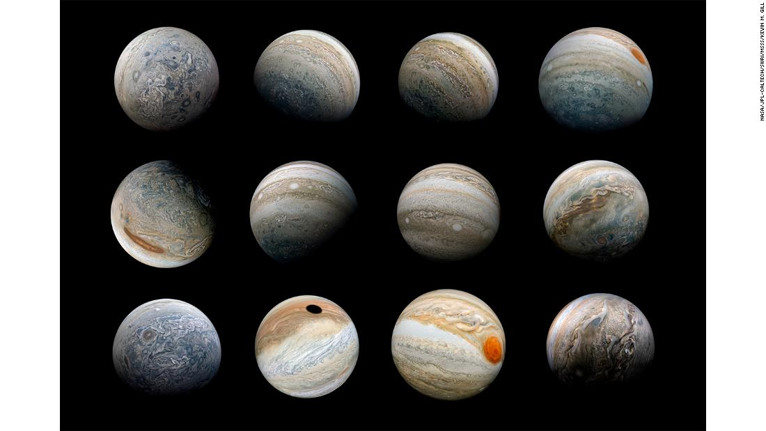 """Jupiter Marble Poster"" -- A collage of Ultra-Wide-Angle Jupiter views created using reprojected images captured by the Juno spacecraft."