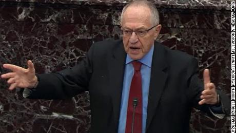 WASHINGTON, DC - JANUARY 29: In this screenshot taken from a Senate Television webcast, legal counsel for President Donald Trump, Alan Dershowitz answers a question from a senator during impeachment proceedings in the Senate chamber at the U.S. Capitol on January 29, 2020 in Washington, DC. Senators have 16 hours to submit written questions to the House managers and the President's defense team. (Photo by Senate Television via Getty Images)