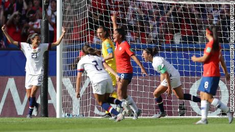 Lloyd celebrates after scoring her team's third goal against Chile at the Women's World Cup.