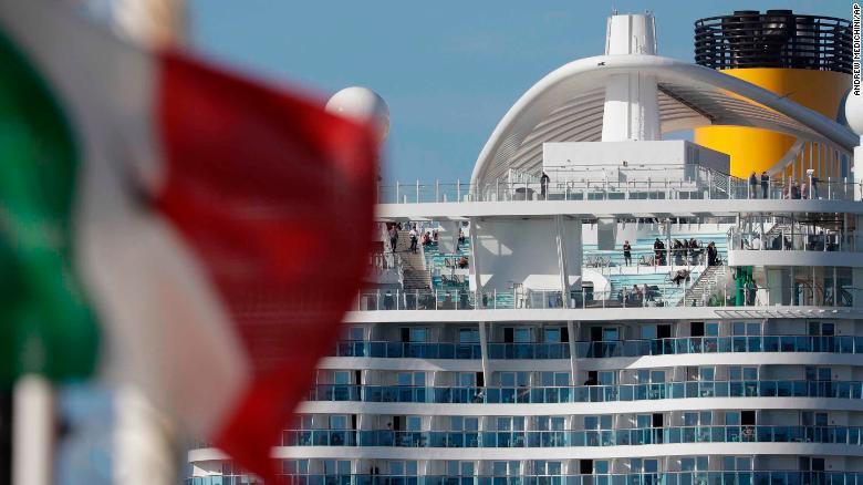 The Costa Smeralda docked in the Civitavecchia port near Rome on Thursday.