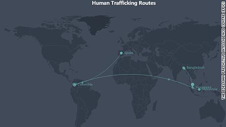 A screenshot of The Edelman Predictive Intelligence Centre's (EPIC) interactive trafficking hotspot map across Asia Pacific.