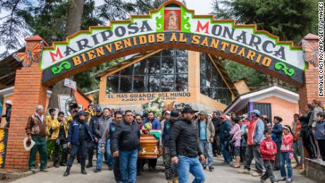 People carry the coffin with the remains of Mexican environmentalist Homero Gomez, during his funeral procession in El Rosario village.