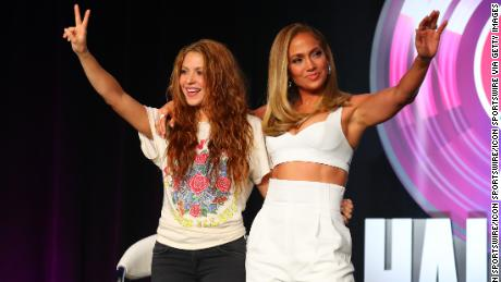 Shakira and Jennifer Lopez on Thursday. (Photo by Rich Graessle/PPI/Icon Sportswire via Getty Images)