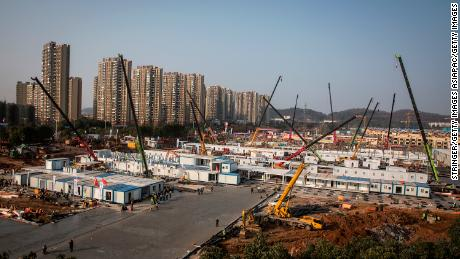 Work continues on Wuhan Huoshenshan hospital on January 30, 2020 in Wuhan, China. The 1,000-bed hospital is scheduled to open on February 5.